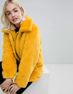 Куртка оверсайз из искусственного меха Monki - Желтый