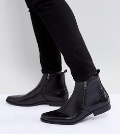 Черные ботинки челси из искусственной кожи для широкой стопы ASOS - Черный