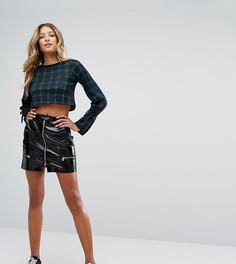 Виниловая мини-юбка с молнией Missguided - Черный
