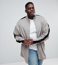Спортивная оверсайз-куртка удлиненного кроя с велюровыми полосками ASOS PLUS - Бежевый