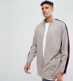 Удлиненная спортивная куртка с велюровой полоской ASOS TALL - Бежевый
