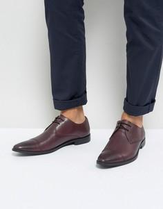 Бордовые кожаные дерби со вставкой на носке Frank Wright - Красный
