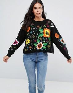 Джемпер с цветочной вышивкой Amy Lynn - Черный