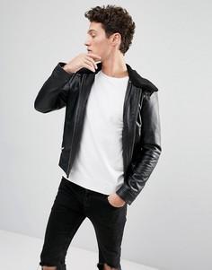 Кожаная куртка со съемным воротником из искусственного меха Selected Homme - Черный