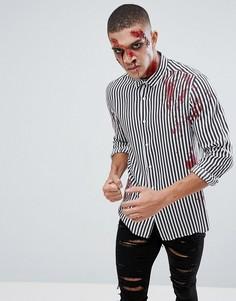 Рубашка из вискозы классического кроя в полоску с принтом пятен крови ASOS Hallowеen - Черный