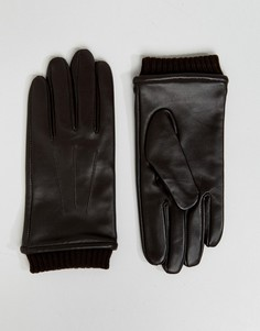 Коричневые кожаные перчатки с манжетами Barneys - Коричневый Barneys Originals
