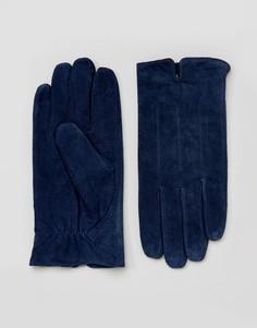 Темно-синие замшевые перчатки Barneys - Темно-синий Barneys Originals