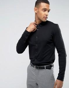 Трикотажная приталенная рубашка Threadbare Premium - Черный