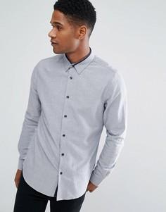 Приталенная рубашка с контрастной отделкой Threadbare Premium - Темно-синий
