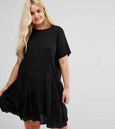 Свободное платье с короткими рукавами и вставками ASOS CURVE - Черный