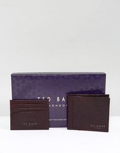 Подарочный набор из кожаных бумажника и визитницы Ted Baker - Красный