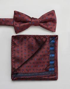 Галстук-бабочка и платок для пиджака с принтом пейсли Selected Homme - Красный