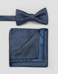 Набор из галстука-бабочки и платка для нагрудного кармана Selected Homme - Темно-синий