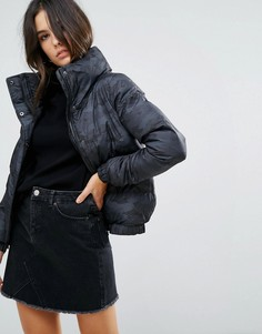 Дутое пальто с камуфляжным принтом Brave Soul Slay - Темно-синий