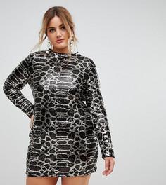 Платье мини с пайетками и высоким воротом Club L Plus - Черный