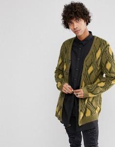 Кардиган в винтажном стиле из мохеровой смеси ASOS - Зеленый
