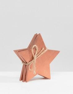Набор новогодних деревянных подставок под напитки в форме звезды (4 шт.) Sass & Belle - Мульти