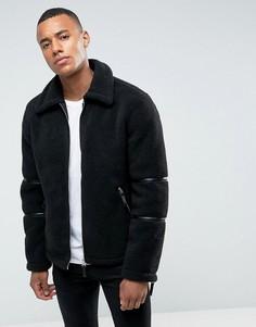 Куртка из искусственной цигейки Barneys Originals - Черный