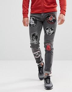 Черные джинсы скинни с байкерскими нашивками ASOS - Черный