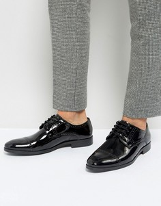 Лакированные оксфордские туфли со вставкой на носке Silver Street - Черный