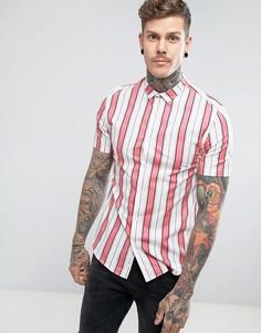 Узкая рубашка в розовую полоску River Island - Розовый