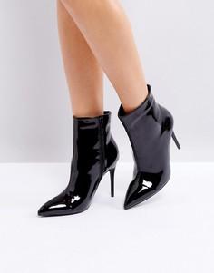 Лакированные полусапожки на каблуке с острым носком Boohoo - Черный