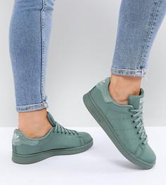 Атласные стеганые кроссовки цвета хаки adidas Originals Stan Smith - Зеленый