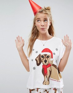 Новогодний пижамный комплект из шортов и футболки с принтом таксы ASOS - Мульти