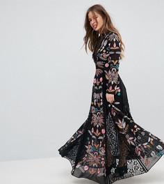 Платье макси с вышивкой и кружевными вставками Frock And Frill Petite - Черный