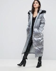 Серое стеганое атласное пальто Missguided - Зеленый
