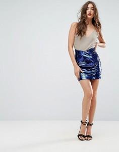 Мини-юбка с пайетками ASOS - Синий