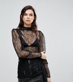 Кружевная блузка с высоким воротом ASOS TALL Premium - Черный