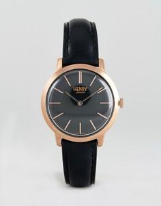 Часы с черным кожаным ремешком Henry London 34 мм - Черный
