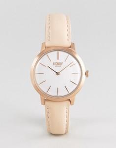 Часы с розовым кожаным ремешком Henry London 34 мм - Розовый