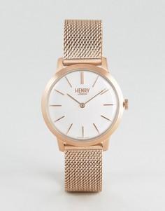 Золотисто-розовые часы с сетчатым ремешком Henry London 34 мм - Золотой