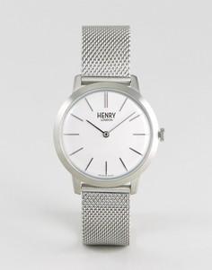 Серебристые часы с сетчатым ремешком Henry London 34 мм - Серебряный