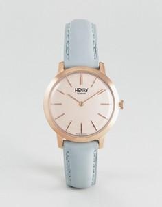 Синие часы с кожаным ремешком Henry London - 34 мм - Синий