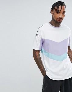 Oversize-футболка с принтом и вставками в стиле колор блок ASOS - Белый