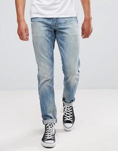 Выбеленные узкие эластичные джинсы с потертостями ASOS - Синий