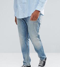 Выбеленные узкие эластичные джинсы с потертостями ASOS PLUS - Синий