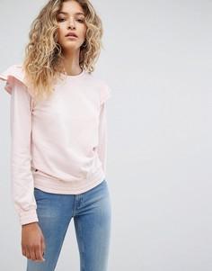 Свитшот с оборками на плечах Rock & Religion Leela - Розовый