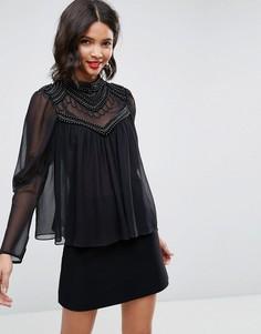 Блузка с отделкой искусственным жемчугом ASOS - Черный