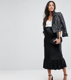 Бархатная юбка миди с завышенной талией ASOS Maternity - Черный