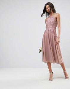 Платье миди с кружевной аппликацией ASOS WEDDING - Бежевый