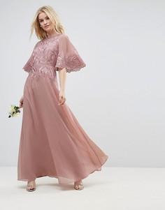 Платье макси с аппликацией и рукавами клеш ASOS WEDDING - Бежевый