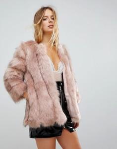 Меховая куртка с полосатой отделкой Jayley Luxurious - Розовый