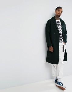 Полушерстяное пальто зеленого цвета с заниженной линией плеч ASOS - Зеленый