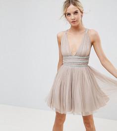 Приталенное платье мини из тюля ASOS PETITE - Бежевый