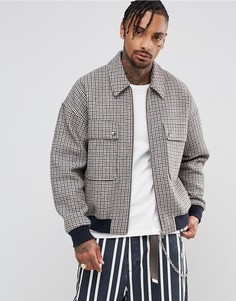 Оверсайз-куртка Харрингтон в клетку с добавлением шерсти ASOS - Коричневый