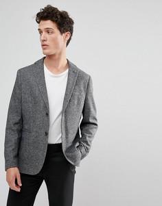 Приталенный блейзер из твида с добавлением шерсти Selected Homme - Серый
